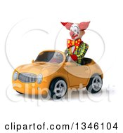 Clipart Of A 3d Funky Clown Driving A Yellow Convertible Car Slightly To The Left Royalty Free Illustration