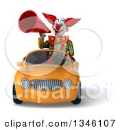 Clipart Of A 3d Funky Clown Announcing With A Megaphone And Driving A Yellow Convertible Car Royalty Free Illustration