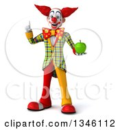 Clipart Of A 3d Funky Clown Holding Up A Finger And A Green Apple Royalty Free Illustration