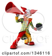 Clipart Of A 3d Funky Clown Holding A Blackberry And Announcing With A Megaphone Royalty Free Illustration