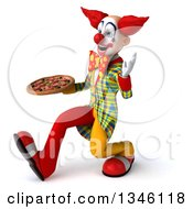 Clipart Of A 3d Funky Clown Holding A Pizza Speed Walking And Waving To The Left Royalty Free Illustration