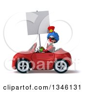 Clipart Of A 3d Colorful Clown Wearing Sunglasses Holding A Blank Sign And Driving A Red Convertible Car To The Left Royalty Free Illustration