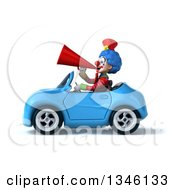 Clipart Of A 3d Colorful Clown Announcing With A Megaphone And Driving A Blue Convertible Car To The Left Royalty Free Illustration