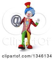 Clipart Of A 3d Colorful Clown Walking Waving And Holding An Email Arobase At Symbol Royalty Free Illustration