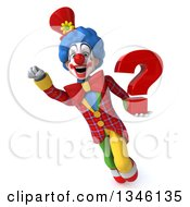 Clipart Of A 3d Colorful Clown Holding A Question Mark And Flying Royalty Free Illustration