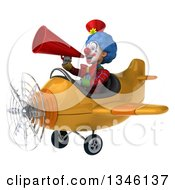 Clipart Of A 3d Colorful Clown Aviator Pilot Announcing With A Megaphone And Flying A Yellow Airplane Slightly To The Left Royalty Free Illustration