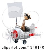 Clipart Of A 3d Aviator Giraffe Wearing Sunglasses Holding A Blank Sign And Flying A White And Red Airplane Slightly To The Left Royalty Free Illustration