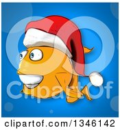 Cartoon Christmas Goldfish Wearing A Santa Hat Over Blue