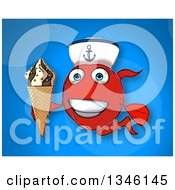 Cartoon Happy Red Sailor Fish Holding A Waffle Ice Cream Cone Over Blue