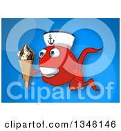 Cartoon Happy Red Sailor Fish Facing Slightly Left And Holding A Waffle Ice Cream Cone Over Blue