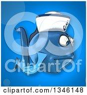 Clipart Of A Cartoon Sad Blue Sailor Fish Facing Right Over Blue Royalty Free Illustration