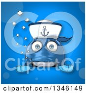 Cartoon Happy Blue Sailor Fish Over A Sign On Blue