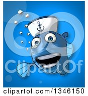 Cartoon Happy Blue Sailor Fish Looking Around A Sign On Blue