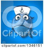 Clipart Of A Cartoon Sad Blue Sailor Fish Over Blue Royalty Free Illustration