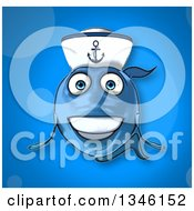 Clipart Of A Cartoon Happy Blue Sailor Fish Over Blue Royalty Free Illustration