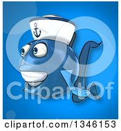 Clipart Of A Cartoon Happy Blue Sailor Fish Facing Left Over Blue Royalty Free Illustration