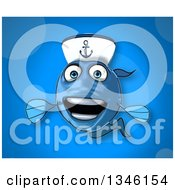 Clipart Of A Cartoon Happy Blue Sailor Fish Over Blue Royalty Free Illustration by Julos