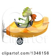 Clipart Of A 3d Green Dragon Aviator Pilot Giving A Thumb Down And Flying A Yellow Airplane To The Left Royalty Free Illustration
