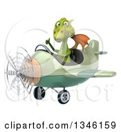 Clipart Of A 3d Green Dragon Aviator Pilot Giving A Thumb Up And Flying A Green And Tan Airplane Slightly To The Left Royalty Free Illustration