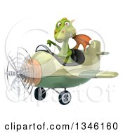 Clipart Of A 3d Green Dragon Aviator Pilot Giving A Thumb Down And Flying A Green And Tan Airplane Slightly To The Left Royalty Free Illustration