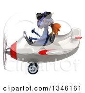 Clipart Of A 3d Purple Dragon Aviator Pilot Wearing Sunglasses Giving A Thumb Up And Flying A White And Red Airplane To The Left Royalty Free Illustration by Julos