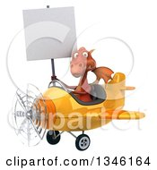Clipart Of A 3d Red Dragon Aviator Pilot Holding A Blank Sign And Flying A Yellow Airplane Slightly To The Left Royalty Free Illustration