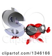 Clipart Of A 3d Heart Character Wearing Sunglasses Holding Up A Dollar Currency Symbol And Thumb Royalty Free Illustration