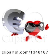 Clipart Of A 3d Heart Character Wearing Sunglasses Holding Up A Thumb And A Euro Currency Symbol Royalty Free Illustration