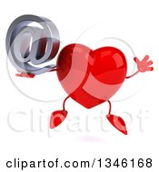 Clipart Of A 3d Heart Character Holding An Email Arobase At Symbol And Jumping Royalty Free Illustration