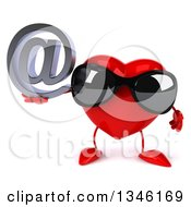 Clipart Of A 3d Heart Character Wearing Sunglasses And Holding An Email Arobase At Symbol Royalty Free Illustration
