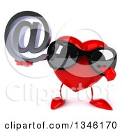 Clipart Of A 3d Heart Character Wearing Sunglasses Holding And Pointing To An Email Arobase At Symbol Royalty Free Illustration