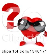 Clipart Of A 3d Heart Character Wearing Sunglasses And Holding A Question Mark Royalty Free Illustration