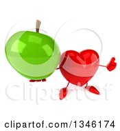 Clipart Of A 3d Heart Character Holding Up A Thumb And A Green Apple Royalty Free Illustration