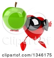 Clipart Of A 3d Heart Character Wearing Sunglasses Holding A Green Apple Facing Slightly Right And Jumping Royalty Free Illustration