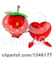 Clipart Of A 3d Heart Character Holding Up A Strawberry Royalty Free Illustration
