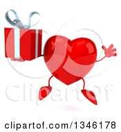Clipart Of A 3d Heart Character Holding A Gift And Jumping Royalty Free Illustration