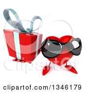 Clipart Of A 3d Heart Character Wearing Sunglasses And Holding Up A Gift Royalty Free Illustration