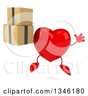 Clipart Of A 3d Heart Character Holding Boxes And Jumping Royalty Free Illustration