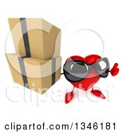 Clipart Of A 3d Heart Character Wearing Sunglasses Holding Up A Thumb And Boxes Royalty Free Illustration