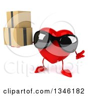 Clipart Of A 3d Heart Character Wearing Sunglasses Shrugging And Holding Boxes Royalty Free Illustration
