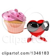 Clipart Of A 3d Heart Character Wearing Sunglasses And Holding Up A Pink Frosted Cupcake Royalty Free Illustration