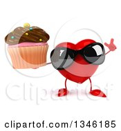 Clipart Of A 3d Heart Character Wearing Sunglasses Holding Up A Finger And A Chocolate Frosted Cupcake Royalty Free Illustration by Julos