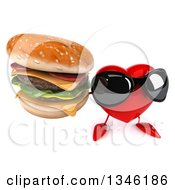 Clipart Of A 3d Heart Character Wearing Sunglasses And Holding Up A Double Cheeseburger Royalty Free Illustration by Julos