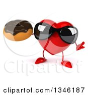 Clipart Of A 3d Heart Character Wearing Sunglasses Shrugging And Holding A Chocolate Glazed Donut Royalty Free Illustration by Julos