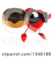 Clipart Of A 3d Heart Character Wearing Sunglasses Jumping Facing Slightly Right And Holding A Chocolate Glazed Donut Royalty Free Illustration by Julos