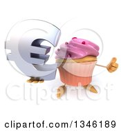 Clipart Of A 3d Pink Frosted Cupcake Character Holding Up A Thumb And Email Arobase At Symbol Royalty Free Illustration by Julos