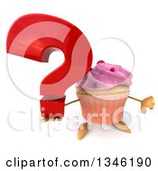 Clipart Of A 3d Pink Frosted Cupcake Character Giving A Thumb Down And Holding Up A Question Mark Royalty Free Illustration by Julos