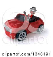 Clipart Of A 3d White And Black Clown Wearing Sunglasses Giving A Thumb Up And Driving A Red Convertible Car Slightly To The Left Royalty Free Illustration