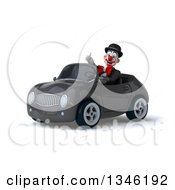 Clipart Of A 3d White And Black Clown Giving A Thumb Up And Driving A Gray Convertible Car Slightly To The Left Royalty Free Illustration