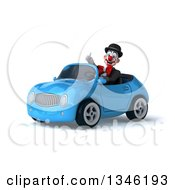 Clipart Of A 3d White And Black Clown Giving A Thumb Up And Driving A Blue Convertible Car Slightly To The Left Royalty Free Illustration